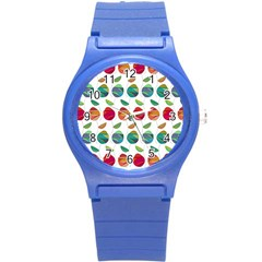 Watercolor Floral Roses Pattern Round Plastic Sport Watch (S)
