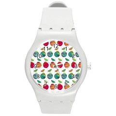 Watercolor Floral Roses Pattern Round Plastic Sport Watch (M)