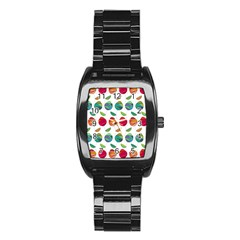 Watercolor Floral Roses Pattern Stainless Steel Barrel Watch