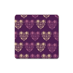 Purple Hearts Seamless Pattern Square Magnet