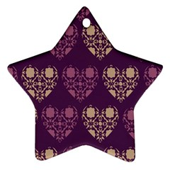 Purple Hearts Seamless Pattern Star Ornament (two Sides)
