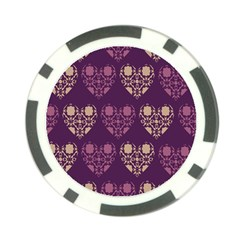 Purple Hearts Seamless Pattern Poker Chip Card Guard