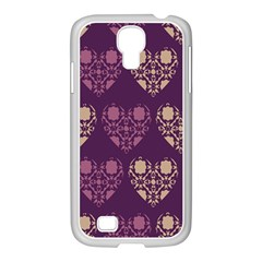 Purple Hearts Seamless Pattern Samsung Galaxy S4 I9500/ I9505 Case (white) by Nexatart