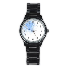 Blue Paint Splats Stainless Steel Round Watch by Nexatart
