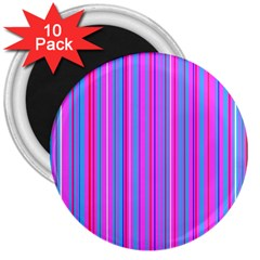 Blue And Pink Stripes 3  Magnets (10 Pack)  by Nexatart