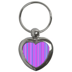Blue And Pink Stripes Key Chains (heart)  by Nexatart