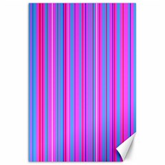 Blue And Pink Stripes Canvas 20  X 30   by Nexatart