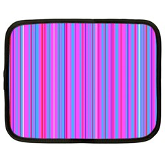 Blue And Pink Stripes Netbook Case (xl)  by Nexatart