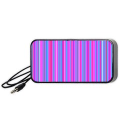 Blue And Pink Stripes Portable Speaker (black) by Nexatart