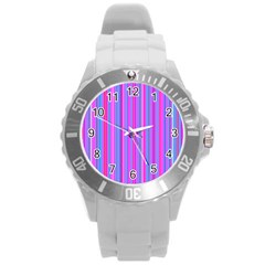 Blue And Pink Stripes Round Plastic Sport Watch (l)