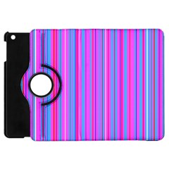 Blue And Pink Stripes Apple Ipad Mini Flip 360 Case by Nexatart