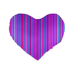 Blue And Pink Stripes Standard 16  Premium Flano Heart Shape Cushions by Nexatart