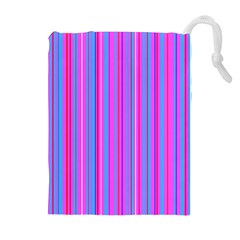 Blue And Pink Stripes Drawstring Pouches (extra Large) by Nexatart