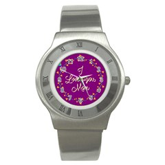 Happy Mothers Day Celebration I Love You Mom Stainless Steel Watch