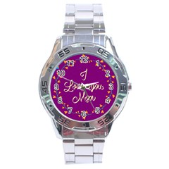 Happy Mothers Day Celebration I Love You Mom Stainless Steel Analogue Watch by Nexatart