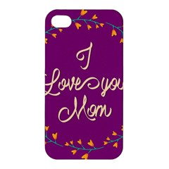 Happy Mothers Day Celebration I Love You Mom Apple Iphone 4/4s Hardshell Case by Nexatart