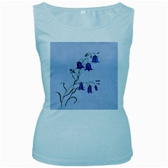 Floral Blue Bluebell Flowers Watercolor Painting Women s Baby Blue Tank Top