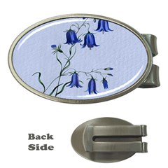 Floral Blue Bluebell Flowers Watercolor Painting Money Clips (oval)  by Nexatart