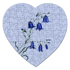 Floral Blue Bluebell Flowers Watercolor Painting Jigsaw Puzzle (heart) by Nexatart
