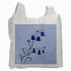 Floral Blue Bluebell Flowers Watercolor Painting Recycle Bag (one Side) by Nexatart