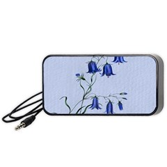Floral Blue Bluebell Flowers Watercolor Painting Portable Speaker (black) by Nexatart