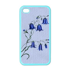 Floral Blue Bluebell Flowers Watercolor Painting Apple Iphone 4 Case (color) by Nexatart