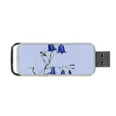 Floral Blue Bluebell Flowers Watercolor Painting Portable Usb Flash (two Sides)