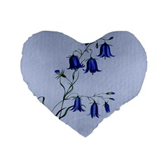 Floral Blue Bluebell Flowers Watercolor Painting Standard 16  Premium Heart Shape Cushions by Nexatart