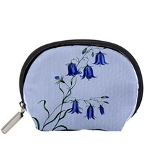 Floral Blue Bluebell Flowers Watercolor Painting Accessory Pouches (small)  by Nexatart