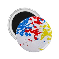 Paint Splatter Digitally Created Blue Red And Yellow Splattering Of Paint On A White Background 2 25  Magnets by Nexatart
