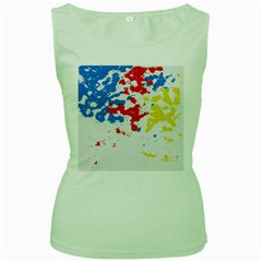 Paint Splatter Digitally Created Blue Red And Yellow Splattering Of Paint On A White Background Women s Green Tank Top
