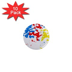 Paint Splatter Digitally Created Blue Red And Yellow Splattering Of Paint On A White Background 1  Mini Magnet (10 Pack)
