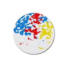 Paint Splatter Digitally Created Blue Red And Yellow Splattering Of Paint On A White Background Magnet 3  (round) by Nexatart