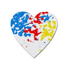 Paint Splatter Digitally Created Blue Red And Yellow Splattering Of Paint On A White Background Heart Magnet by Nexatart