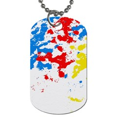 Paint Splatter Digitally Created Blue Red And Yellow Splattering Of Paint On A White Background Dog Tag (two Sides)