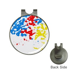 Paint Splatter Digitally Created Blue Red And Yellow Splattering Of Paint On A White Background Hat Clips With Golf Markers by Nexatart