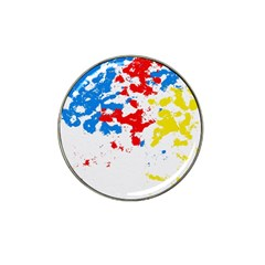 Paint Splatter Digitally Created Blue Red And Yellow Splattering Of Paint On A White Background Hat Clip Ball Marker by Nexatart