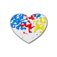 Paint Splatter Digitally Created Blue Red And Yellow Splattering Of Paint On A White Background Rubber Coaster (heart)  by Nexatart