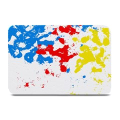 Paint Splatter Digitally Created Blue Red And Yellow Splattering Of Paint On A White Background Plate Mats by Nexatart