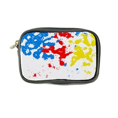 Paint Splatter Digitally Created Blue Red And Yellow Splattering Of Paint On A White Background Coin Purse by Nexatart