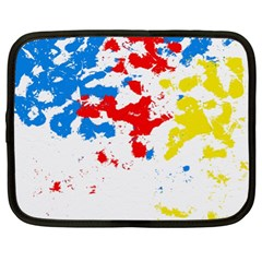 Paint Splatter Digitally Created Blue Red And Yellow Splattering Of Paint On A White Background Netbook Case (xl)  by Nexatart