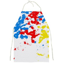 Paint Splatter Digitally Created Blue Red And Yellow Splattering Of Paint On A White Background Full Print Aprons by Nexatart
