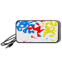 Paint Splatter Digitally Created Blue Red And Yellow Splattering Of Paint On A White Background Portable Speaker (black) by Nexatart