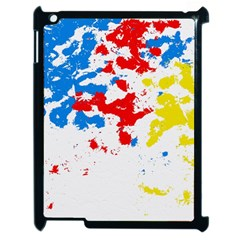 Paint Splatter Digitally Created Blue Red And Yellow Splattering Of Paint On A White Background Apple Ipad 2 Case (black) by Nexatart