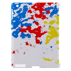 Paint Splatter Digitally Created Blue Red And Yellow Splattering Of Paint On A White Background Apple Ipad 3/4 Hardshell Case (compatible With Smart Cover) by Nexatart