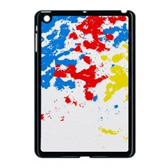 Paint Splatter Digitally Created Blue Red And Yellow Splattering Of Paint On A White Background Apple Ipad Mini Case (black) by Nexatart