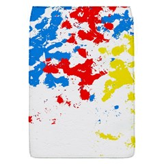 Paint Splatter Digitally Created Blue Red And Yellow Splattering Of Paint On A White Background Flap Covers (s)  by Nexatart