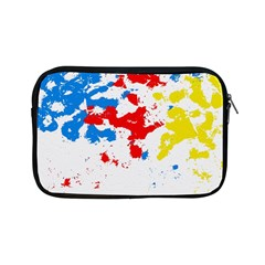 Paint Splatter Digitally Created Blue Red And Yellow Splattering Of Paint On A White Background Apple Ipad Mini Zipper Cases by Nexatart