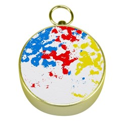 Paint Splatter Digitally Created Blue Red And Yellow Splattering Of Paint On A White Background Gold Compasses by Nexatart