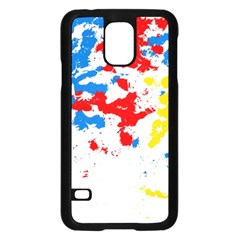Paint Splatter Digitally Created Blue Red And Yellow Splattering Of Paint On A White Background Samsung Galaxy S5 Case (black) by Nexatart